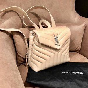 YSL Saint Laurent nude backpack NWOT loulou